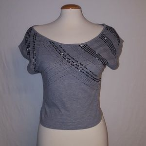Cropped sequined tee shirt size M